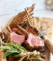 Roasted Rack of Lamb with Garlic and Herbs has a savory crust of bread crumbs.