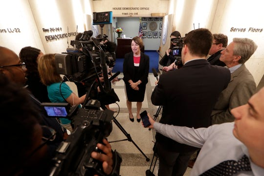 Democratic U.S. Senator and 2020 presidential candidate Amy Klobuchar talks to the press at the Capitol after meeting with Democratic lawmakers and their staff Tuesday, April 16, 2019.