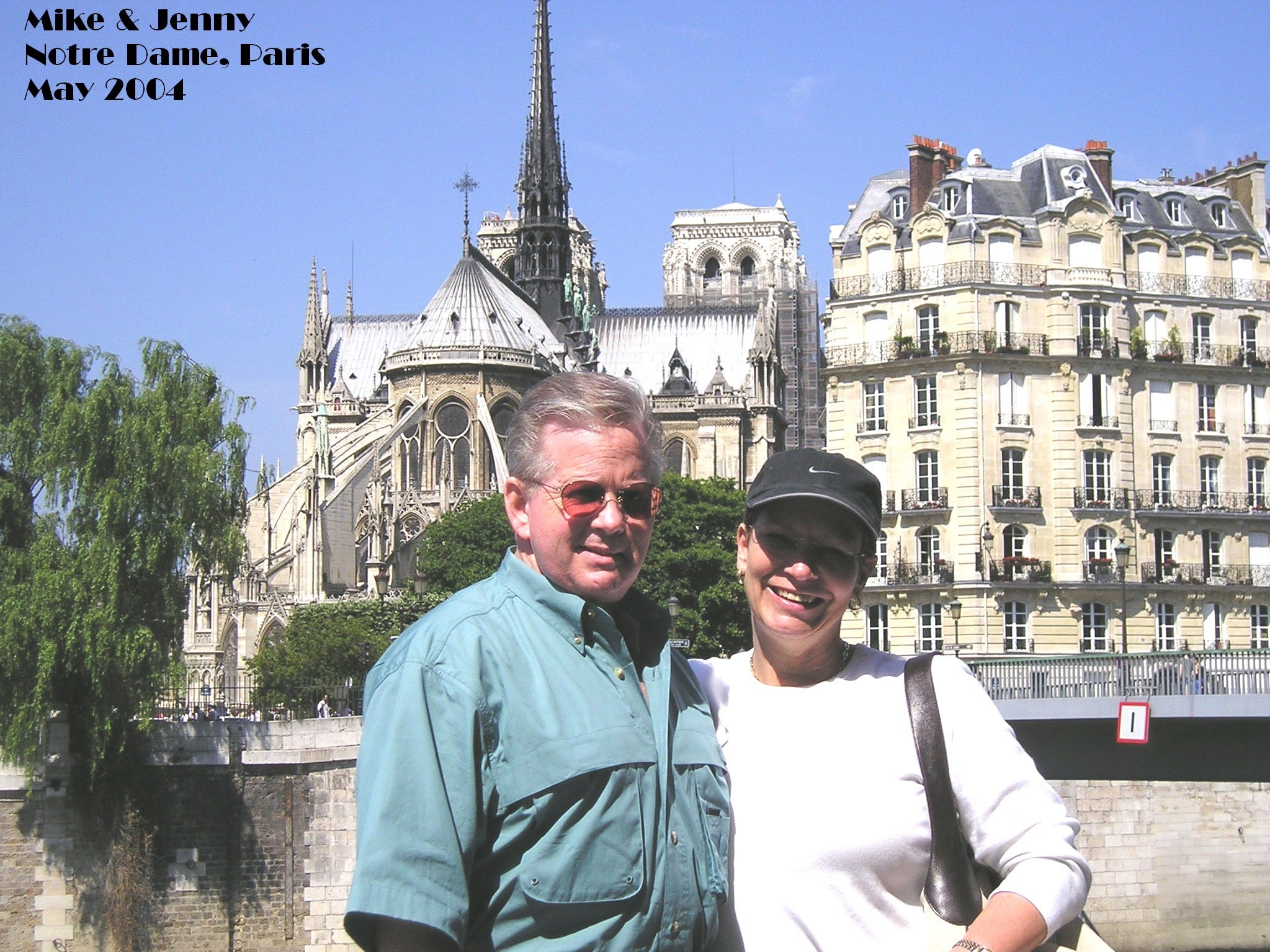 On our very first trip to Paris in 2004, our first stop was a visit to Notre Dame Cathedral. We were staying in a small hotel on the Île Saint-Louis  and, after dropping off our luggage, we walked across a foot bridge the short distance to the Ile de la Cité. As always, the crowds were thick. Like others, our faces were raised as we admired the flying buttresses and towers outside. Once inside, we walked slowly and deliberately appreciating the workmanship and faith of those who had built it. We lit candles and prayed for our loved ones.  We returned to Paris five years later in 2009 and again made our way to Notre Dame to pray.  A trip on the Seine at sunset gave us a new perspective to admire this magnificent edifice.