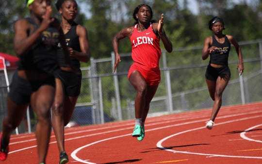 Leon sophomore Nadia Collins runs a 200m final during the District 3-3A track and field meet at Chiles on Monday, April 15, 2019.