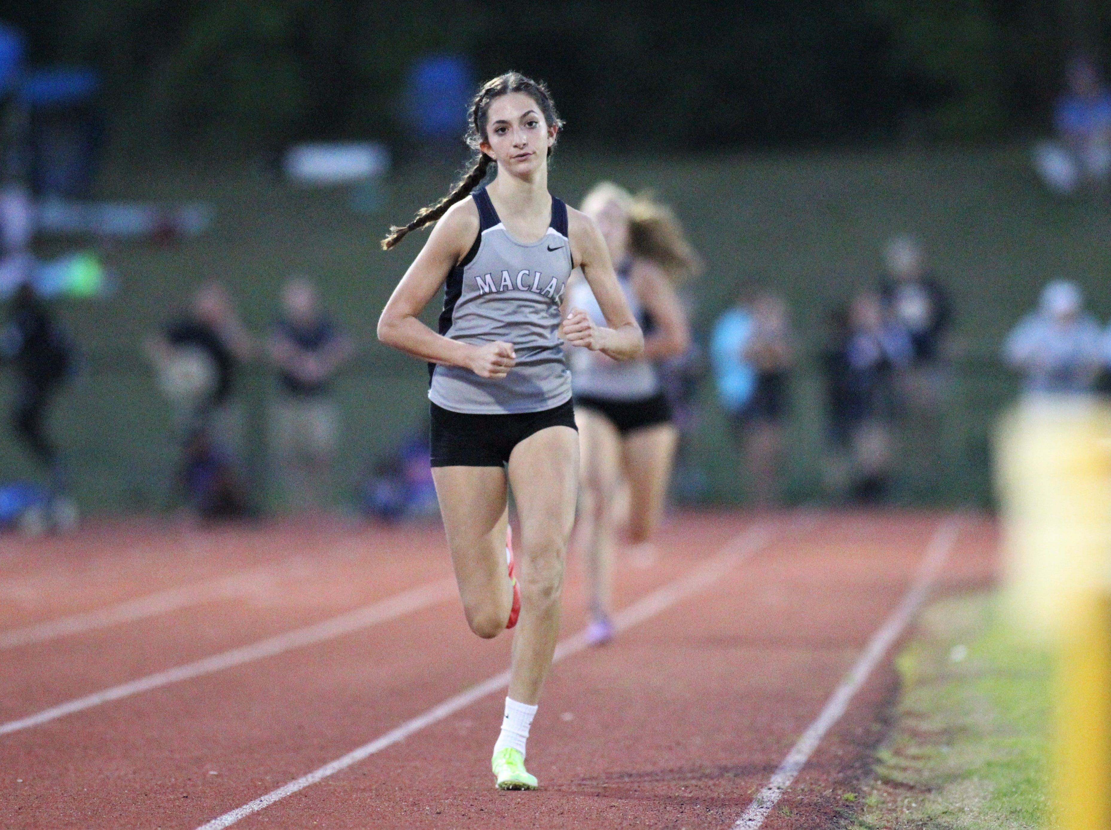 Maclay eighth-grader Ella Porcher races during the District 3-1A and 2-2A track and field meets at Florida High on Saturday, April 13, 2019.