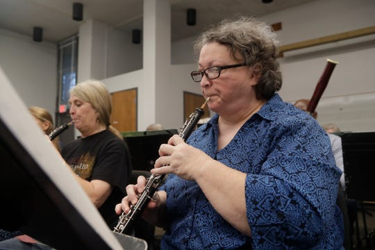 Susan Maynard plays the oboe during a Big Bend Orchestra practice Thursday, April 11, 2019.