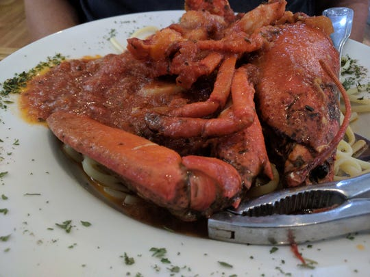 DeAngelo's By the Sea shrimp and lobster FraDiavolo is messy to maneuver but delicious.