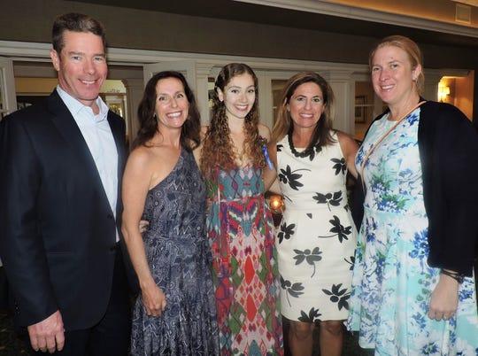 Steve and Julianne McGovern, left, with Anna McGovern, nominee for Rising Star Category, Beth Lettengarver and Binney Caffrey Fisher at Soroptimist International of Stuart's Women of Distinction Awards Dinner.