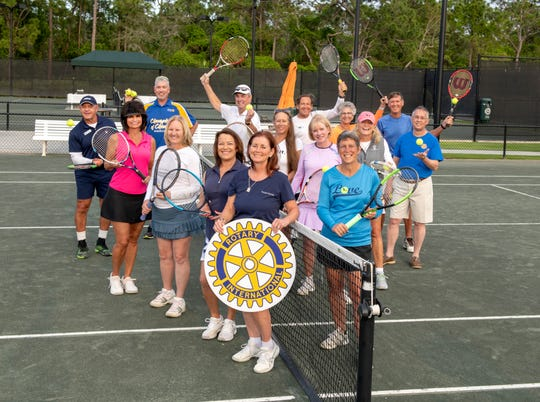 Stuart Sunrise Rotary Tennis Classic at Harbour Ridge planners, pictured on left side of net, starting in back, Fabio Vasconcellos, Robert Wesch, Lynne Kiss, Joyce Costopoulos, Terry Denisco and Sue Whittington; right side of net, from back left,  Bill Walsh, Tom Whittington, Mary Lee Foley, Sandy Wood, Mike Costopoulos, Jessica Agee-Bradshaw, Peggy Austin, Brigite Babine and Mary Hutchinson.