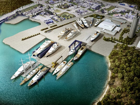 An artist rendering of the former Indian River Marine Terminal property where Derecktor Shipyard will operate a mega-yacht repair center at the Port of Fort Pierce. The new property will be named Derecktor Fort Pierce.