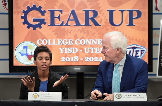 Parkland Middle School seventh-grader Arthur Foster tells U.S. Sen. John Cornyn how the Gear Up Program has helped him prepare for high school and college during a roundtable discussion Tuesday, April 16, 2019.