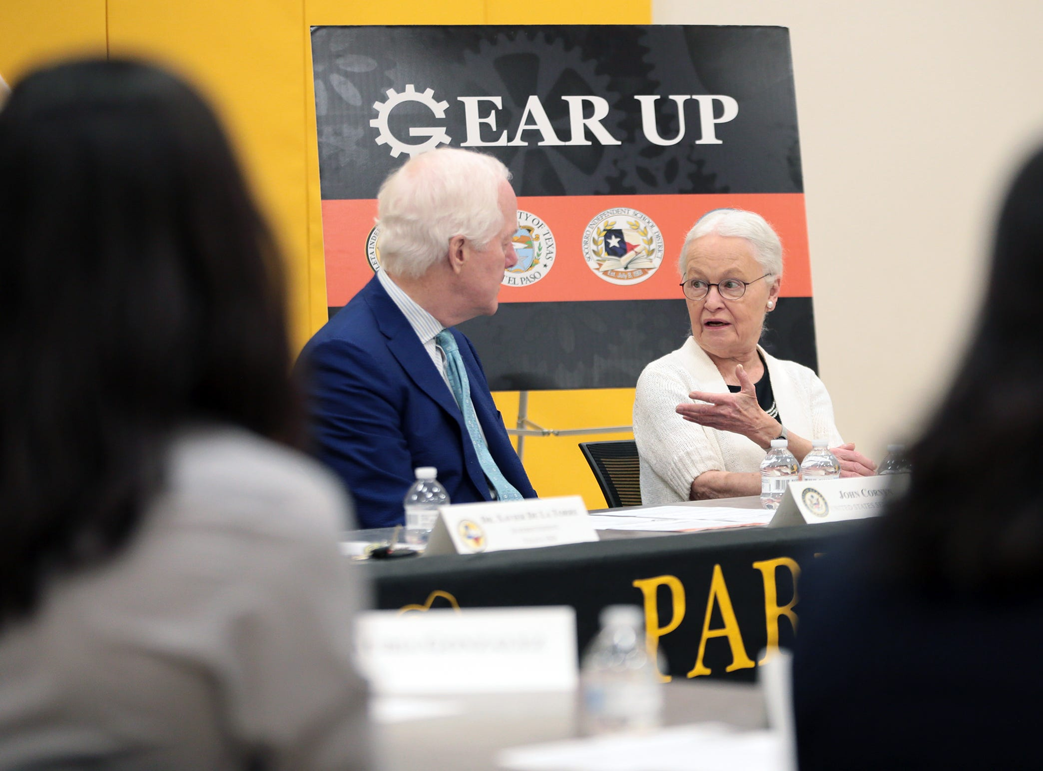U.S. Sen. John Cornyn met with educators and students Tuesday at Parkland Middle School where he learned about the benefits of the Gear Up Act in practice. Cornyn joined UTEP President Dr. Diana Natalicio and YISD Superintendent Xavier de la Torre at the meeting.