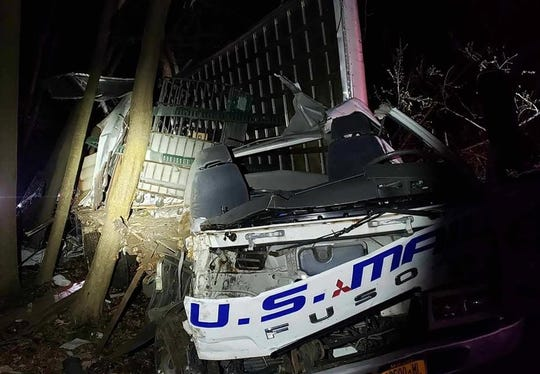 A U.S. Mail truck crashed on Route 306 in Wesley Hills on April 16, 2019.