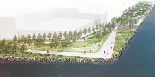 A conceptual plan for the waterfront path at Edge-on-Hudson.