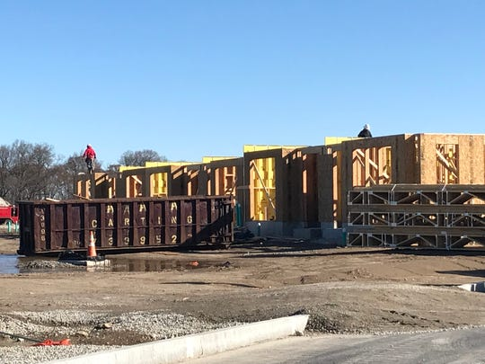 Townhomes started taking shape at the former General Motors assembly plant site.