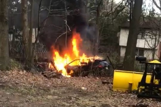 A driver escaped a car fire on Union Road in Ramapo on April 15, 2019.