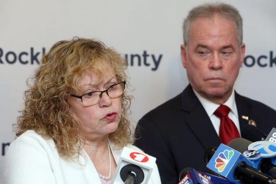 Commissioner of Health Dr. Patricia Schnabel Ruppert and County Executive Ed Day discuss new measles exclusion order that mandates anyone with measles to stay home, and those exposed stay out of public spaces throughout Rockland county, April 16, 2019 in New City.