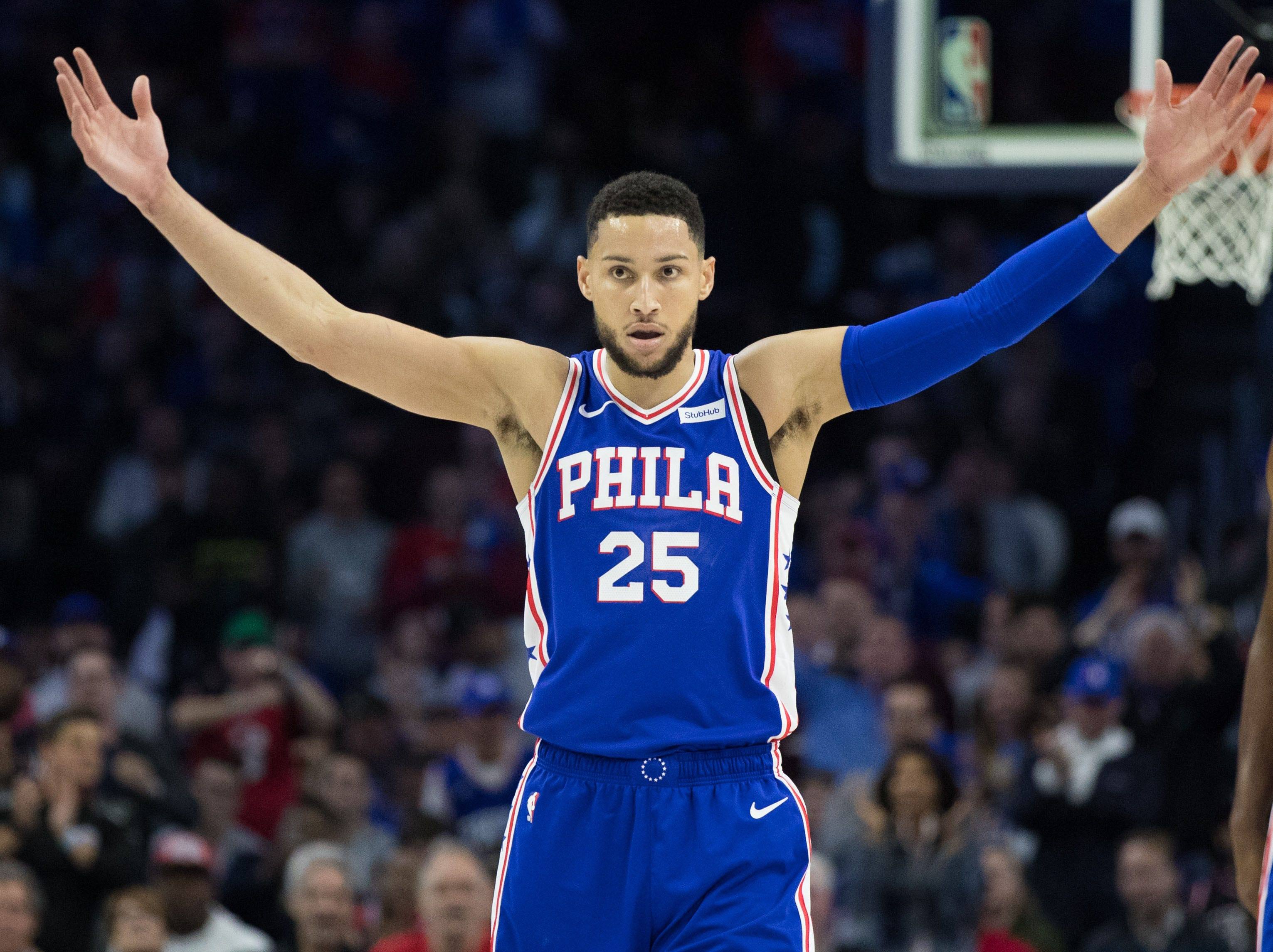 Apr 15, 2019; Philadelphia, PA, USA; Philadelphia 76ers guard Ben Simmons (25) reacts to the crowd after a score against the Brooklyn Nets during the first quarter in game two of the first round of the 2019 NBA Playoffs at Wells Fargo Center.