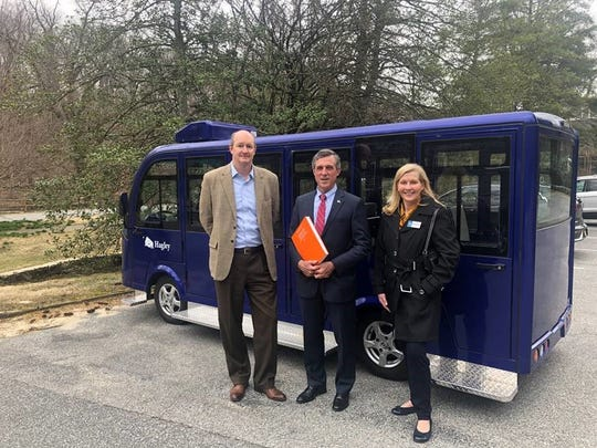Governor John Carney enjoyed a ride on Tram-E through Hagley on April 2, 2019, pictured here with Executive Director, David Cole, and Director of Museum and Audience Engagement, Jill MacKenzie.