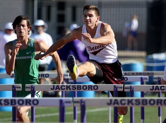 Bowie's AJ Craddock competes in the 110 meter hurdles Monday, April 15, 2019, in the Area 7/8-3A Track and Field Championship in Jacksboro.