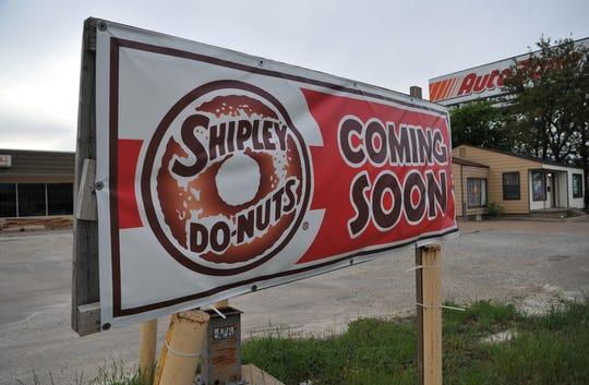 "A sign outside of an old convenience store located on Kemp Blvd., reads ""Shipley Do-Nuts coming soon."""