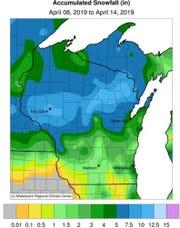April snow throughout much of Wisconsin put a halt to fieldwork last week.