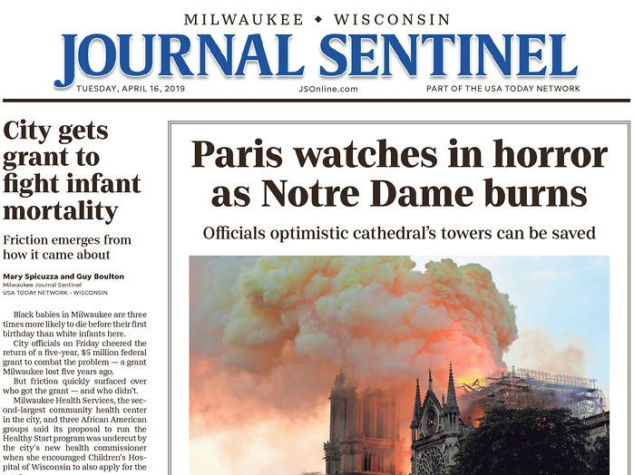 The front page of the April 16, 2019 edition of the Milwaukee Journal Sentinel