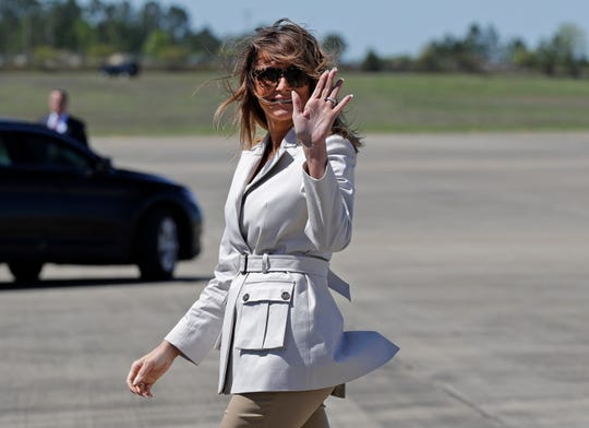 First lady Melania Trump arrives at Fort Bragg, N.C., April 15, 2019, for a visit to the base with second lady Karen Pence.