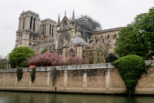 Notre Dame Cathedral is seen on April 16, 2019.