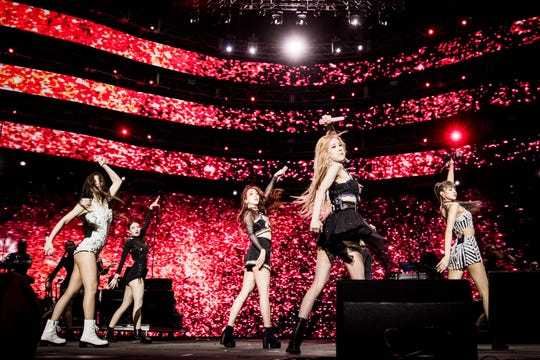 BLACKPINK performs at Sahara Tent during the 2019 Coachella Valley Music And Arts Festival  on April 12, 2019 in Indio, California. (