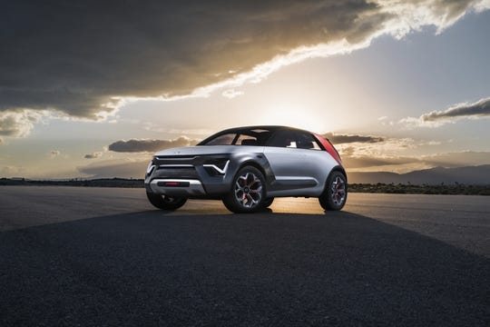 "Imagined and created at Kia's California design studio, the company calls the HabaNiro ""The Everything Car."""