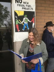 Susan Dobra outside the Chico, California City Council Chambers getting ready to speak in favor of a resolution declaring a climate change emergency in the city on April 8, 2019.
