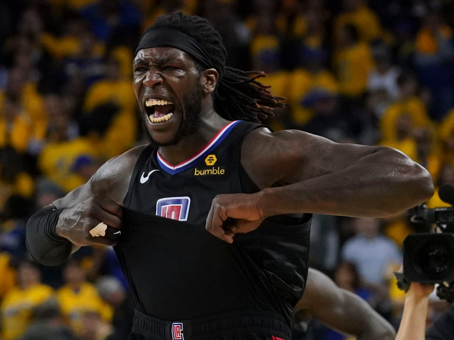 April 15: LA Clippers forward Montrezl Harrell celebrates after the Game 2 win over the Warriors at Oracle Arena.