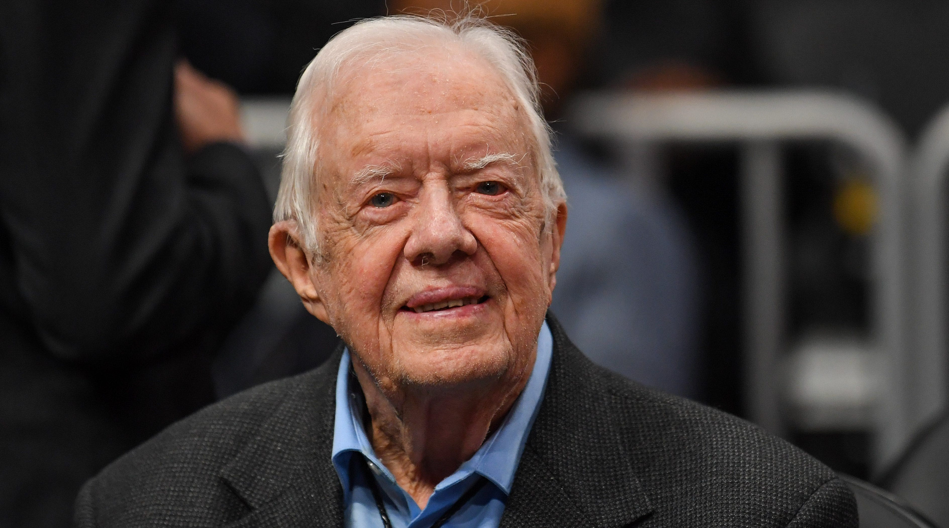Former President Jimmy Carter at the game between the Atlanta Hawks and the New York Knicks at State Farm Arena in Atlanta, Feb. 14, 2019.