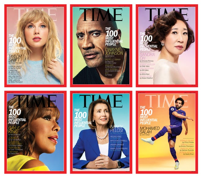 Time magazine's six covers for its 2019 list of the 100 most influential people