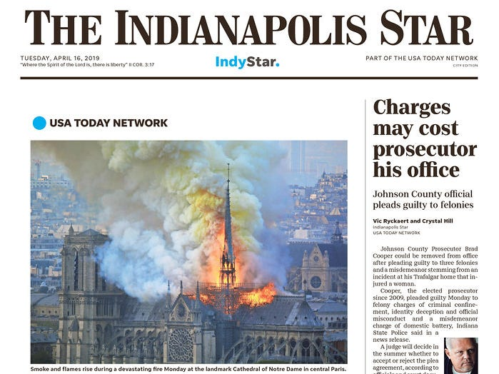The front page of the April 16, 2019 edition of The Indianapolis Star