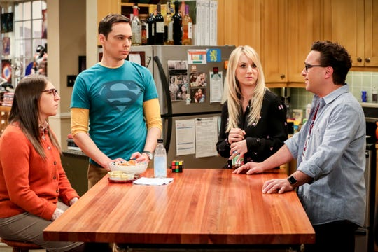 Mayim Bialik, left, Jim Parsons, Kaley Cuoco and Johnny Galecki, here in a scene from Thursday's episode of 'The Big Bang Theory,' had some fun stories to tell about the CBS comedy hit, which ends it 12-season run on May 16. (Photo: Michael Yarish, Warner Bros.)
