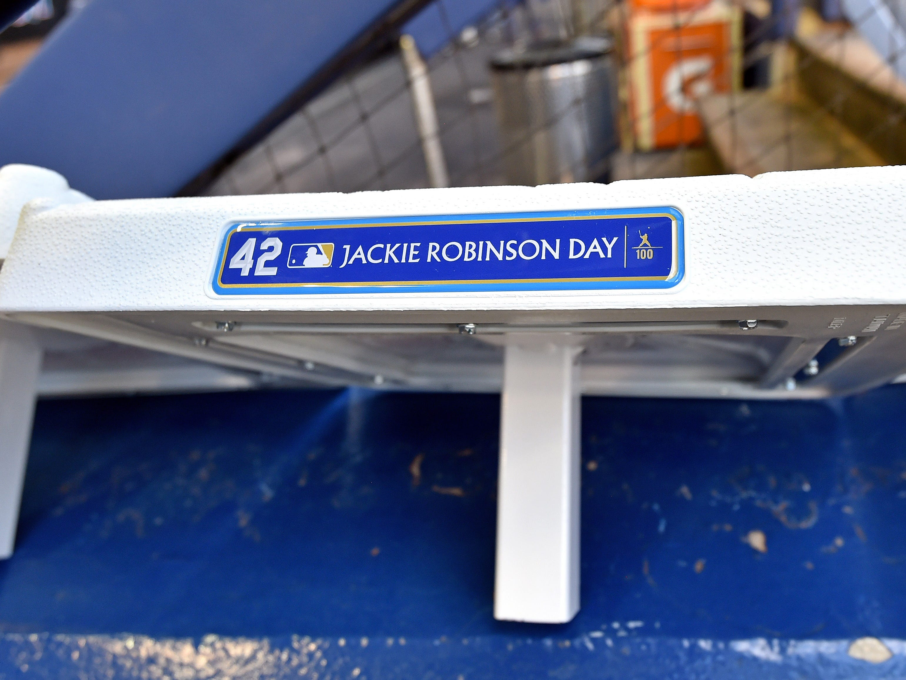 MLB bases have a plaque honoring Jackie Robinson.