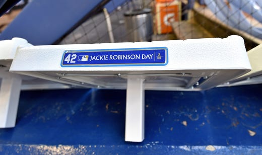 MLB bases have a plaque honoring Jackie Robinson. - Rays Pitcher Breaks Toe In Freak Accident