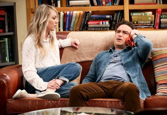 Penny (Kaley Cuoco), left, listens to her husband, Leonard (Johnny Galecki), during an upcoming episode of CBS's 'The Big Bang Theory.'