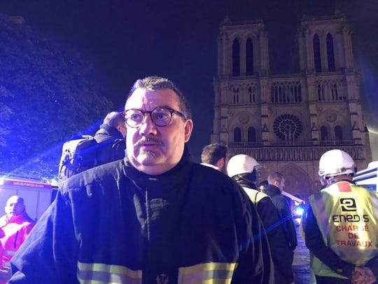 Father Jean-Marc Fournier, chaplain to the Paris Fire Brigade, entered the burning Notre Dame cathedral in Paris to rescue priceless relics.