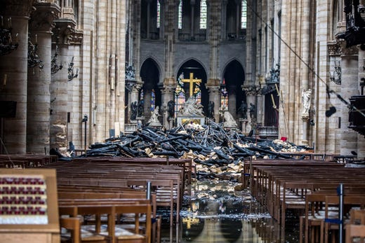 Debris is seen inside of Notre Dame Cathedral on April 16, 2019.