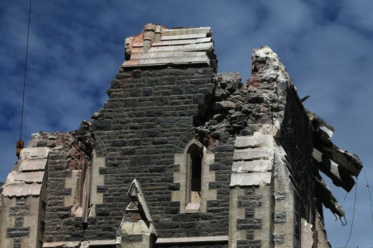 The top of the damaged Cathedral on February 24, 2011 in Christchurch, New Zealand. A massive search and rescue mission is underway and least 76 people have died after a 6.3 magnitude earthquake struck 20km southeast of Christchurch at around 1pm local time on Tuesday. The quake, which was an aftershock of a 7.1 magnitude quake which struck the South Island city on September 4, 2010, has seen damage and fatalities far exceeding those of the original.