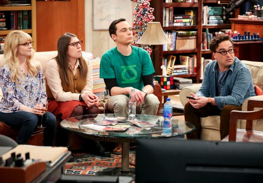 Bernadette (Melissa Rauch), left, Amy Farrah Fowler (Mayim Bialik), Sheldon Cooper (Jim Parsons) and Leonard Hofstadter (Johnny Galecki) sit at the a familiar spot in a recent episode of CBS's 'The Big Bang Theory.'