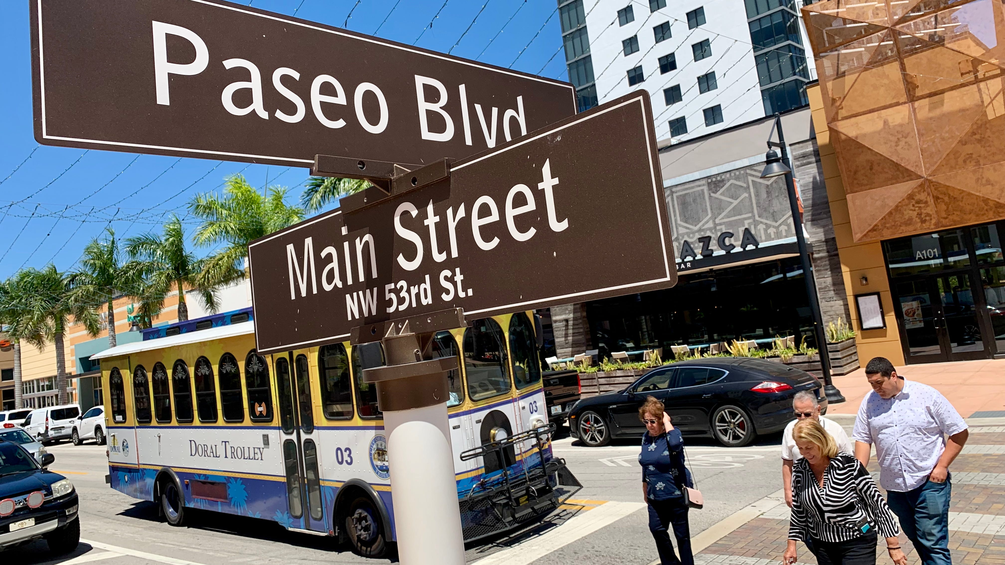 The intersection of Main Street and Paseo Blvd. in downtown Doral, Fla., a South Florida city where the percentage of foreign-born residents is amongst the highest in the nation.