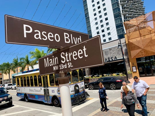 The intersection of Main Street and Paseo Boulevard in downtown Doral, Fla., a South Florida city where the percentage of foreign-born residents is among the highest in the nation.
