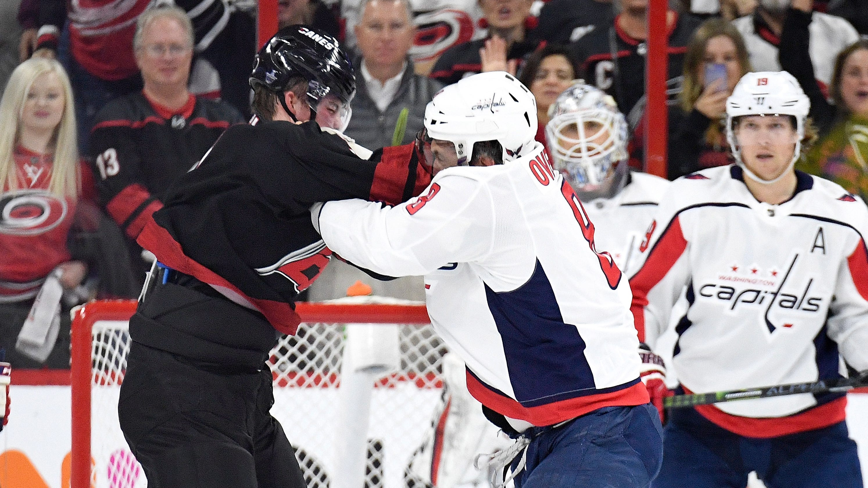 7c49c0f80da Alex Ovechkin knocks out Andrei Svechnikov in fight during  Capitals-Hurricanes Game 3