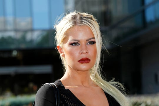 Chloe Goins, a model who claims entertainer Bill Cosby drugged and sexually abused her at the Playboy Mansion in 2008, in Los Angeles on Jan. 14, 2015.