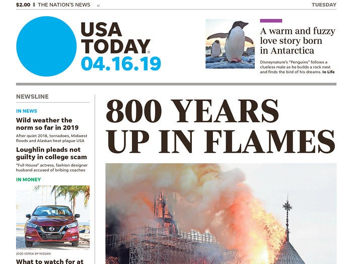 The front page the April 16, 2019 edition of USA TODAY.