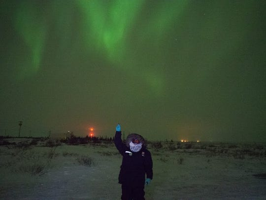 Charlene Lange seeing the Northern Lights for the first time in the Canadian province of Manitoba.