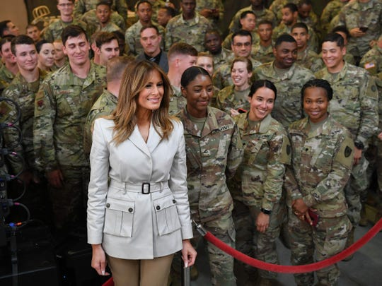 First lady Melania Trump visits troops and their families in Fort Bragg, N.C. on April 15, 2019.