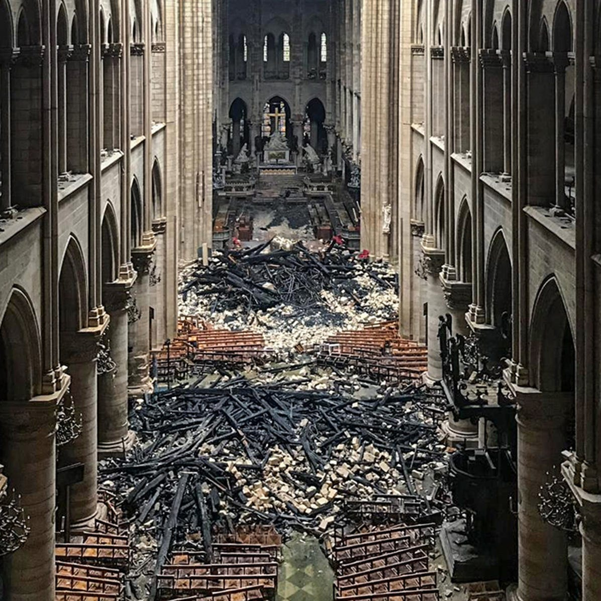 Debris is seen inside of Notre Dame Cathedral on April 16, 2019.