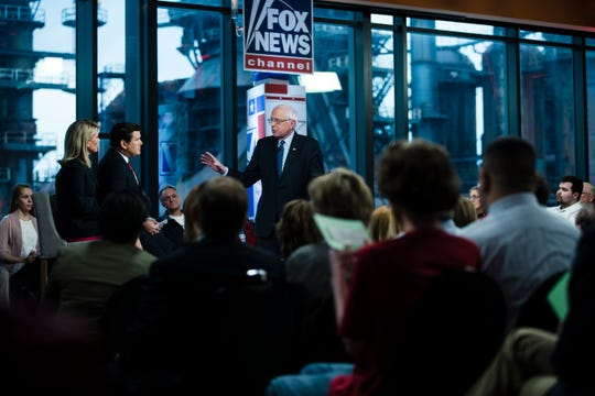 Sen. Bernie Sanders at a Fox News town hall with Bret Baier and Martha MacCallum on April 15, 2019 in Bethlehem, Pa.