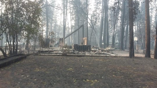 Susan Dobra's home in Paradise, California after it was destroyed by the Camp wildfire on November 8, 2019.